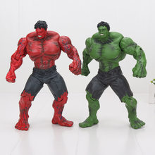 "10"" 25cm Movie Super Hero The Avengers Hulk PVC action Figure toy Red Hulk Green Hulk Figures Toys(China)"
