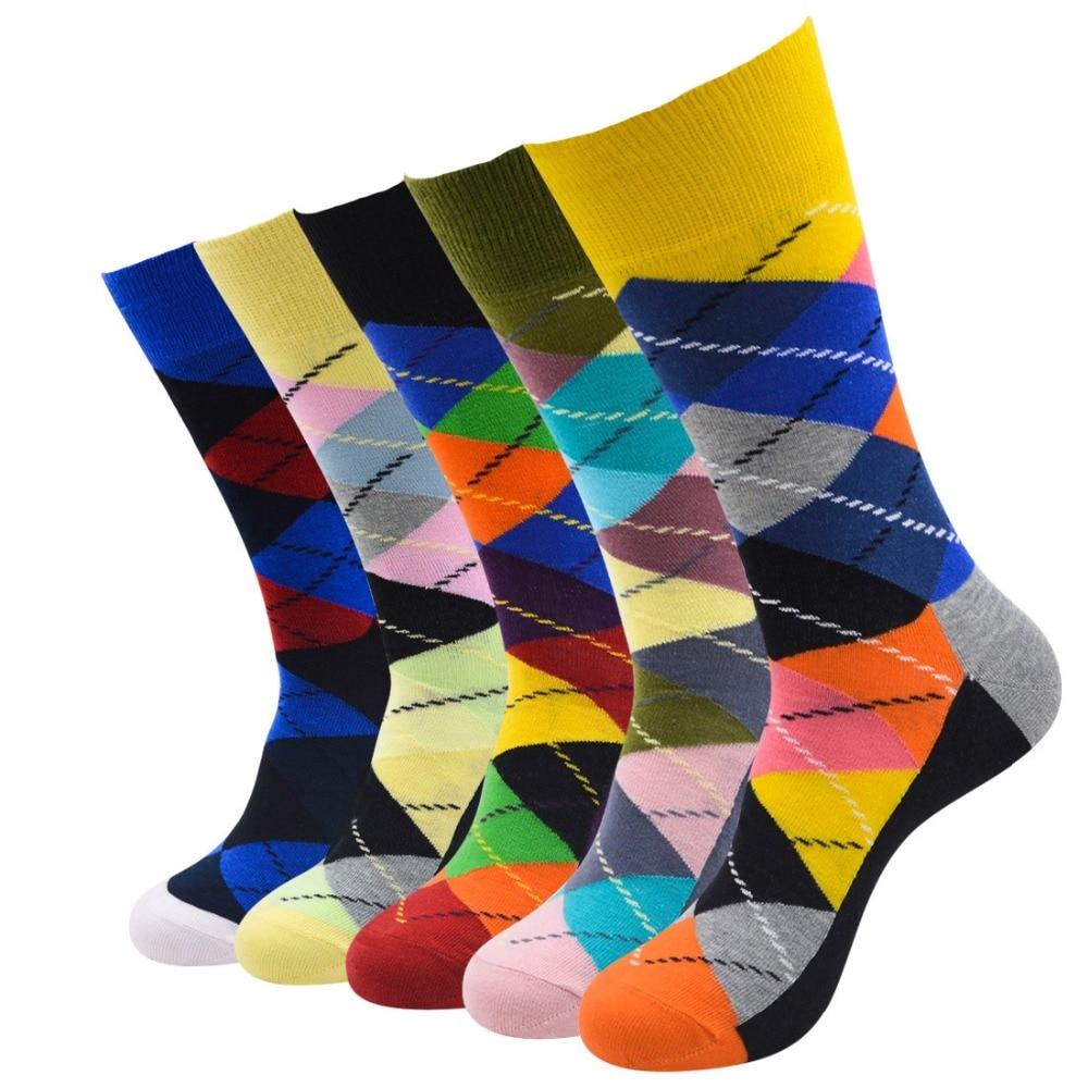 Underwear & Sleepwears Rational New Fashion Men Socks 5pairs/lot Men Geometry Socks Cotton Harajuku Dress Happy Socks Mens Vibrant Crew Socks