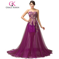 Free Shipping Royal Elegant Beadings Peacock Sweetheart Long Purple Evening Dress Formal Soft Tulle Satin Pongee
