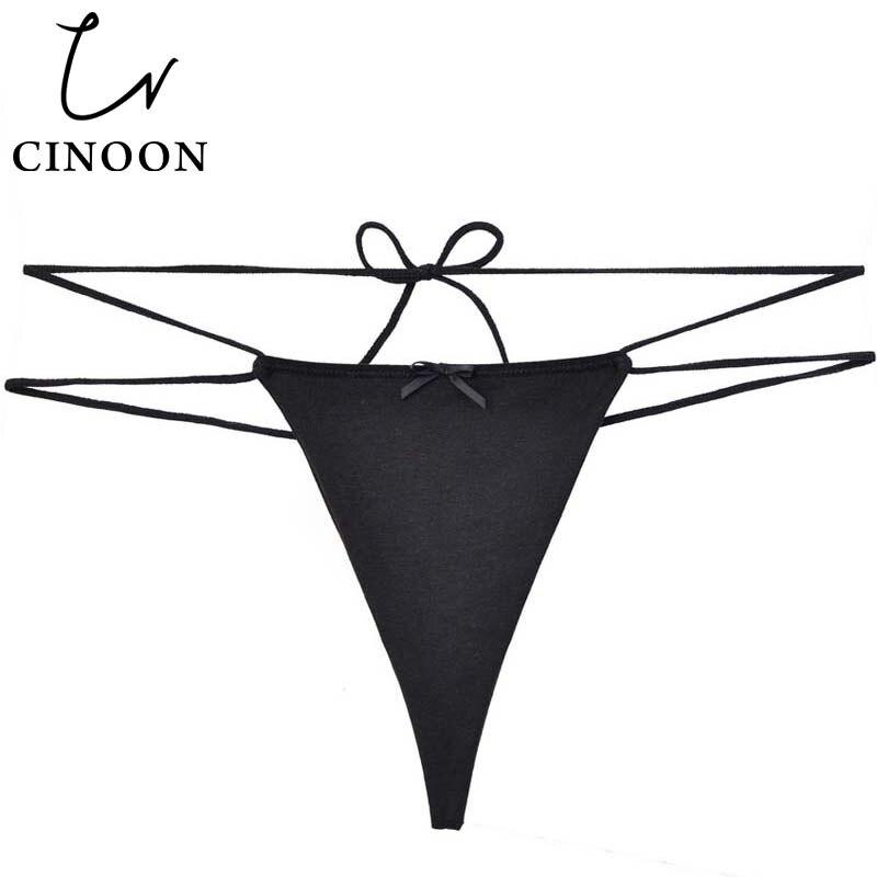 CINOON Sexy Bandage G-String Cotton Briefs Seamless Women's Thongs T   Panties   Underwear Transparent Tanga Adjustable Underpants