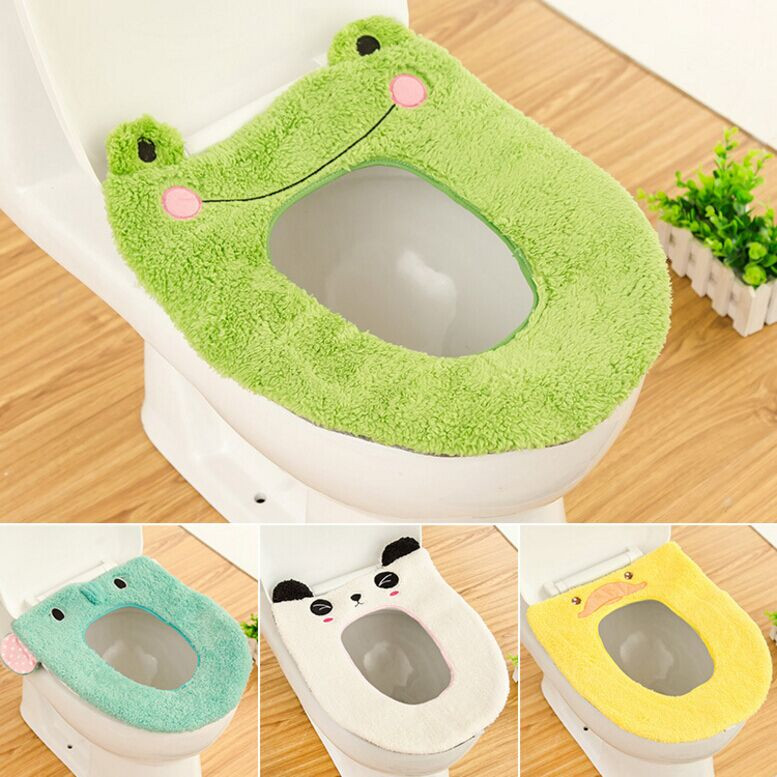 Cartoon Warm Cashmere Washable Bathroom Toilet Seat Cover