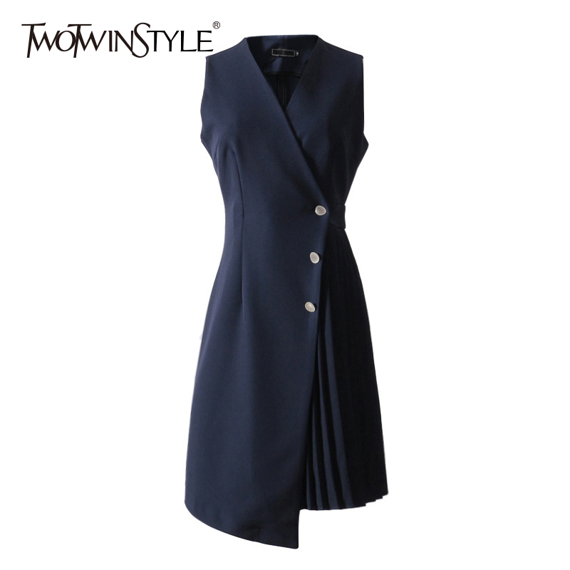 TWOTWINSTYLE Patchwork Vest Dress Female V Neck Sleeveless High Waist Irregular Pleated Asymmetrical Midi Dresses 2018 Summer
