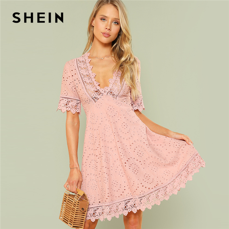 SHEIN Pink Vacation Boho Bohemian Beach Contrast Lace Trim Eyelet Embroidered High Waist V Neck Dress Summer Women Casual Dress