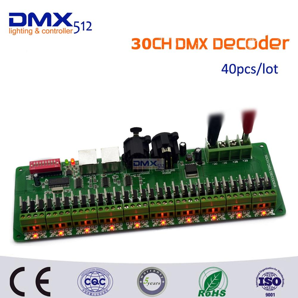 DHL Free shipping 40pcs/lot 30CHx1A LED Controller Easy DMX DMX512 Decoder, Input DC9V-24V,Dimmer,Drive, for LED Strip Light free shipping 40pcs lot stp75nf75 p75nf75 75nf75 motor controller dip to 220 new original