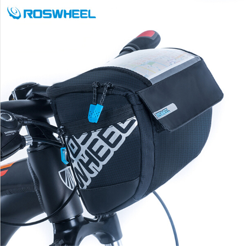 цена на ROSWHEEL 3L Sports Front Bicycle Bags Bike Cycling Front Basket Pannier Frame Tube Handlebar Bag 400D PVC Map Bolsa Bicicleta