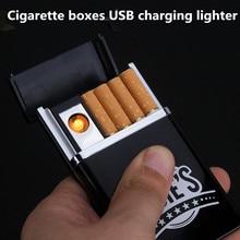 Креативный портативный чехол для сигарет электрическая зажигалка USB ветрозащитная беспламенная зарядка Электронная Зажигалка без газа