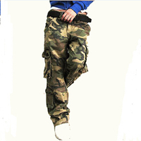 Outdoor Sport Jungle Climb Army Fatigue Camouflage Cargo Pants Plus Size Denim Pocket Hip Pop Dance