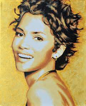 TOP original art painting- 100% hand painted art oil painting- black actress Halle Berry portrait OIL PAINTING -accept custom