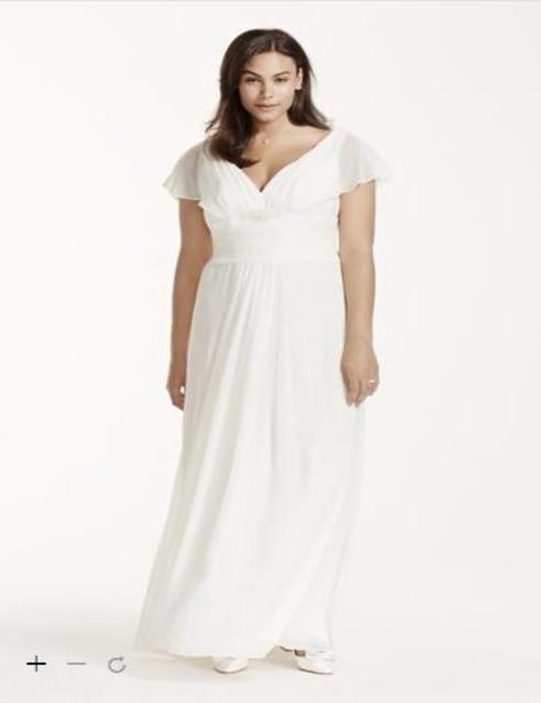 ff676bf5e85c Custom Made 2016 New Free Shipping Flutter Sleeve Chiffon Plus Size Wedding  Dress David's bridal Style