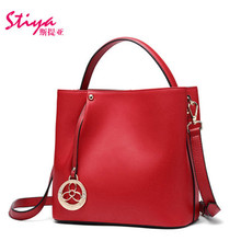 1 Piece Retail Brand New Women Handbags Pink/Red European And American Style Genuine Leather ucket Handbags Shoulder Bags Totes