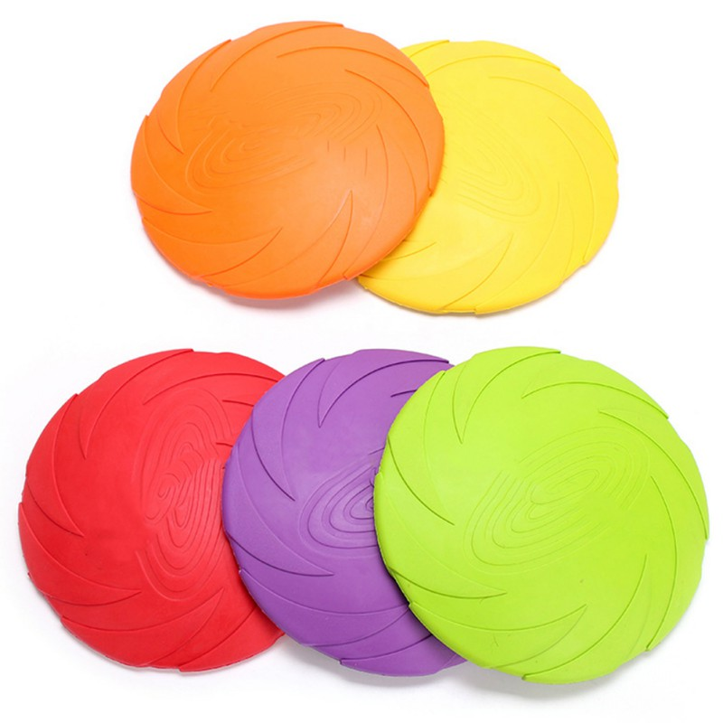 Rubber Dog Pet Tooth Resistant Fetch Toys Outdoor Silicone Dogs Training Flying Disc Playing