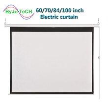 HD 벽 마운트 프로젝션 전기 스크린 60 72 84 100 인치 16:9 또는 4:3 프로젝터 스크린 홈 시어터 glassfiber 1.2 이득