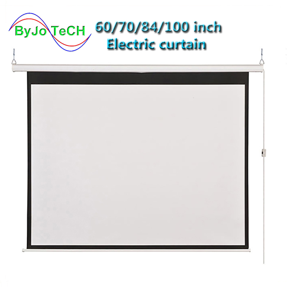 HD Wall Mounted Projection Electric Screen 60 72 84 100 Inch 16:9 Or 4:3 Projector Screen For Home Theate Glassfiber 1.2 Gain