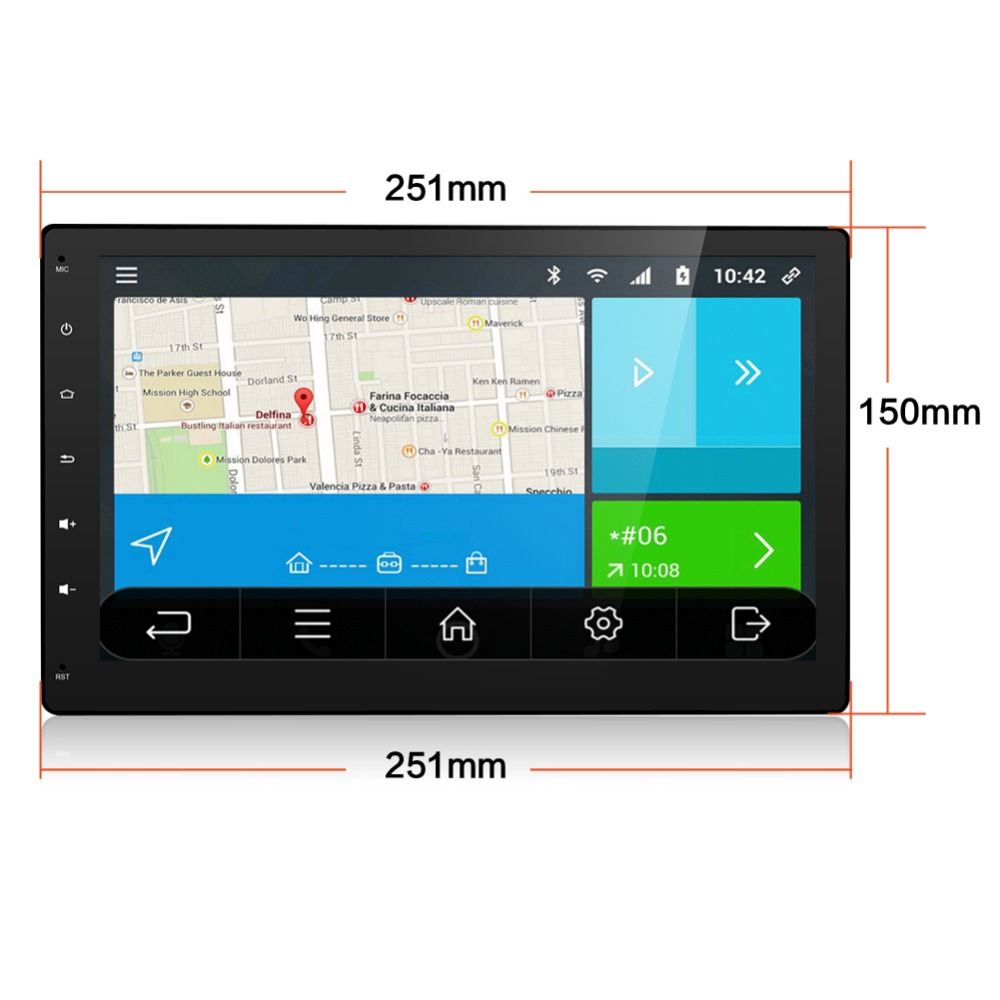 2DIN 10.1 inch Universal 2 din Android 6.0 GPS Capacitive Touch Screen Hear Unit WIFI 4G 3G Mirror Stereo Video Audio MP3 MP4