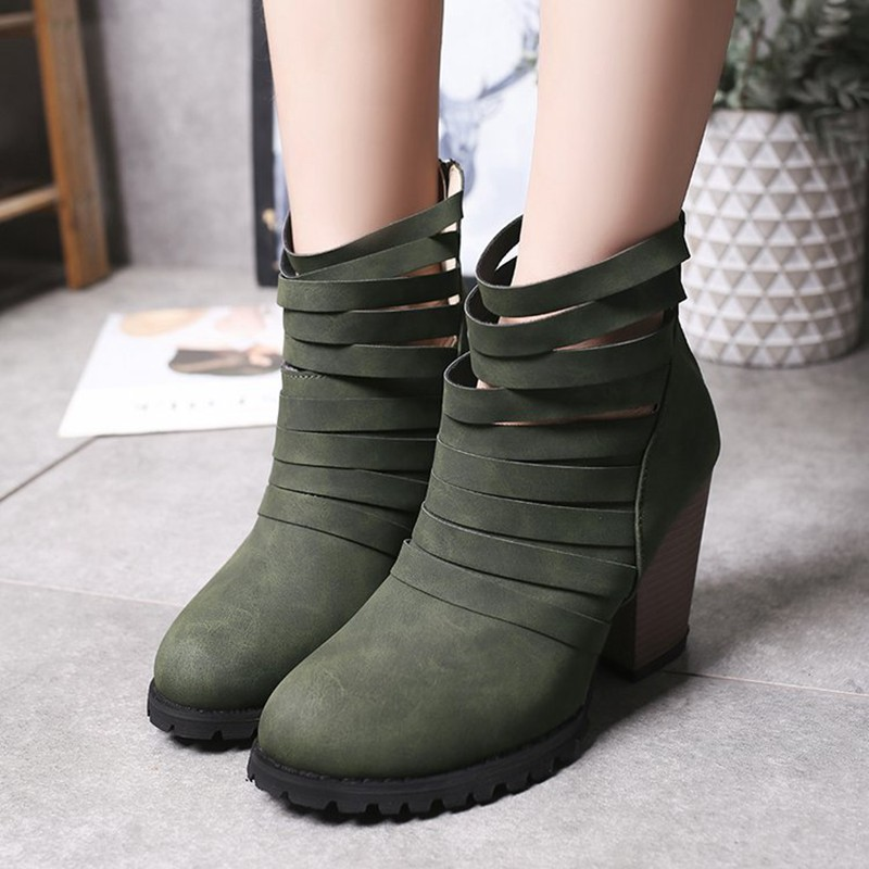 COOTELILI Hollowed-Out Shoes Woman High Heels Ankle Boots For Women Fashion 9cm Heel Rubber Boots Women Pumps 40 41 42 43  (7)