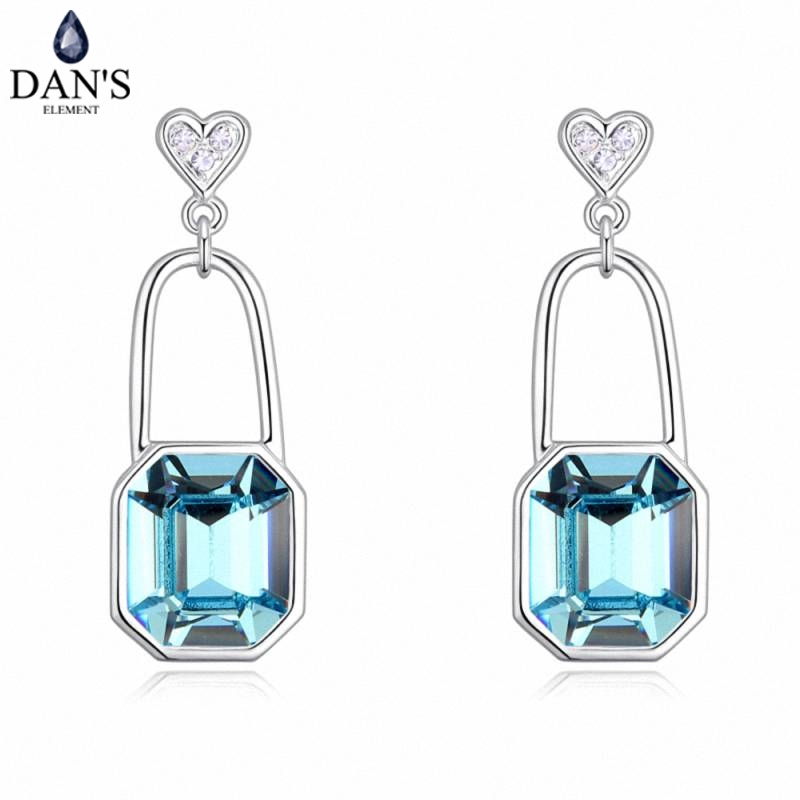 DANS 4 Colors Real Austrian crystals Stud earrings for women Earrings s New Sale Hot Round 130347