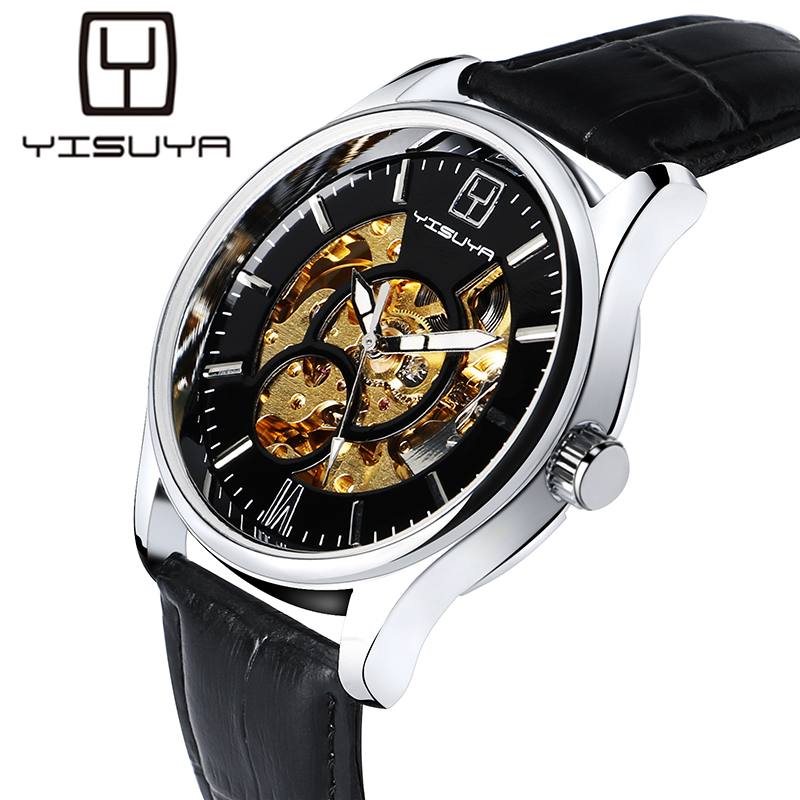 YISUYA Watches Men Hollow Automatic Mechanical Watch Luxury Modern Business Wristwatch Mans Self Wind Genuine Leather Strap original binger mans automatic mechanical wrist watch date display watch self wind steel with gold wheel watches new luxury