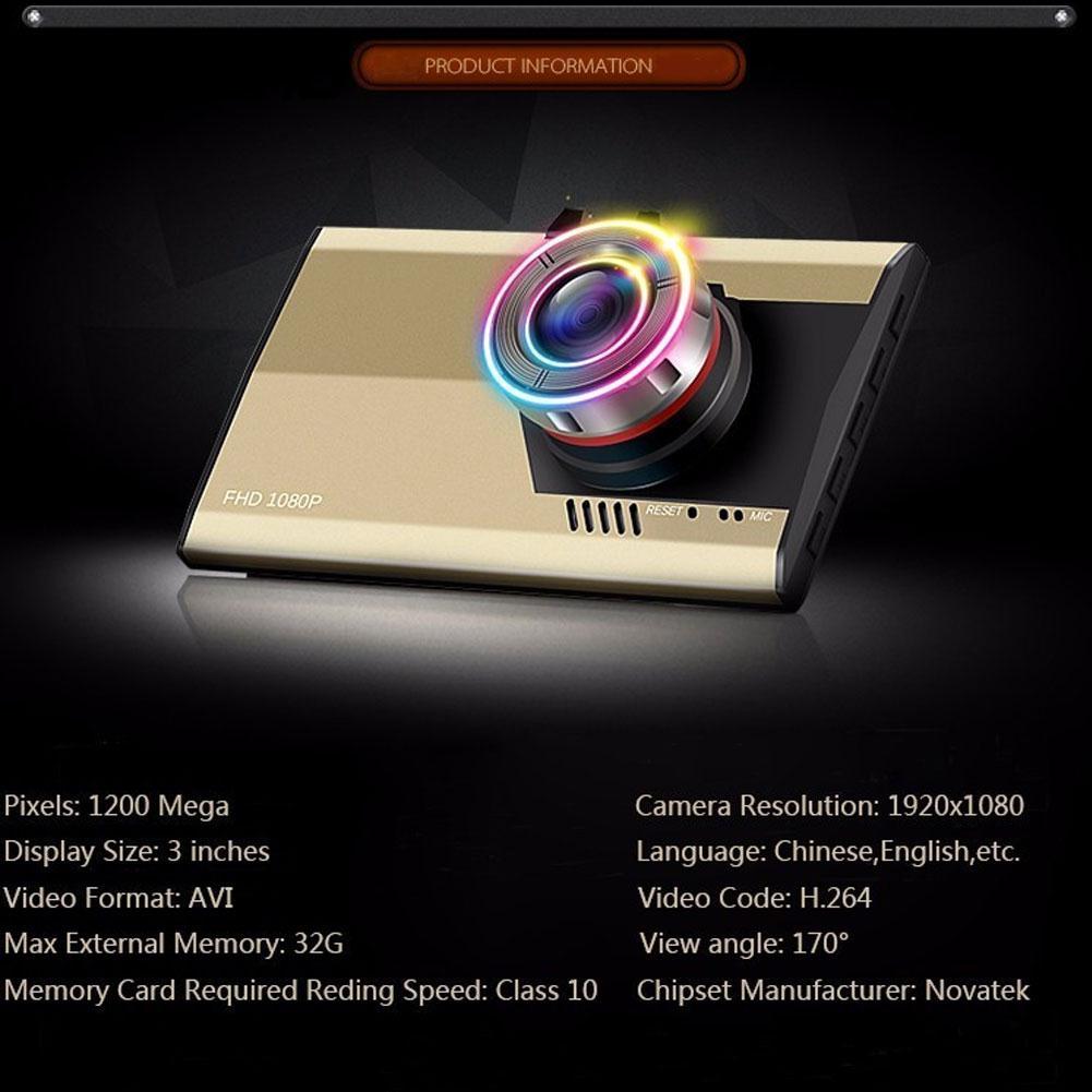 3 Full HD 1080 P Dell'automobile DVR CCTV Dash Camera G-sensor veicolo Registratore Video Cam Video Registratore Dell'automobile di Visione notturna di Guida registratore