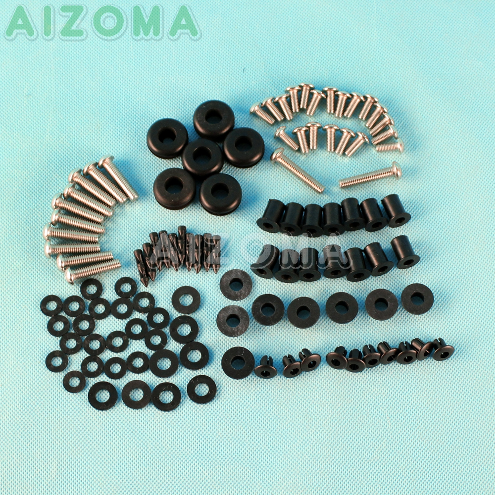 96 Pieces Complete Full Fairing Bolt Kit For Kawasaki Ninja ZX <font><b>636</b></font> ZX-6R ZX636 <font><b>2003</b></font> 2004 Motorcycle Side Covering Screws Nuts image