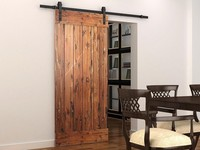 Soft Close Sliding Barn Wood Door Hardware Country Style Black Barn Track Kit With Soft Close