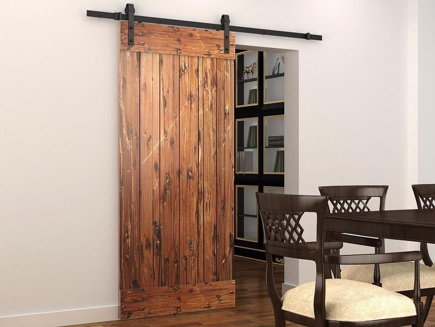 Soft Close Sliding Barn Wood Door Hardware Country Style Black Barn Track Kit With Soft Close Mechanism