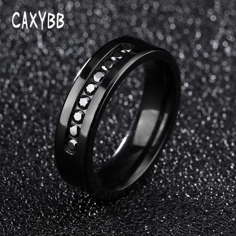 Caxybb Vintage punk black Men Finger Ring Round Cut Cubic Zircon Engagement Rings Black Gun Plated Fashion Created CZ Diamonds