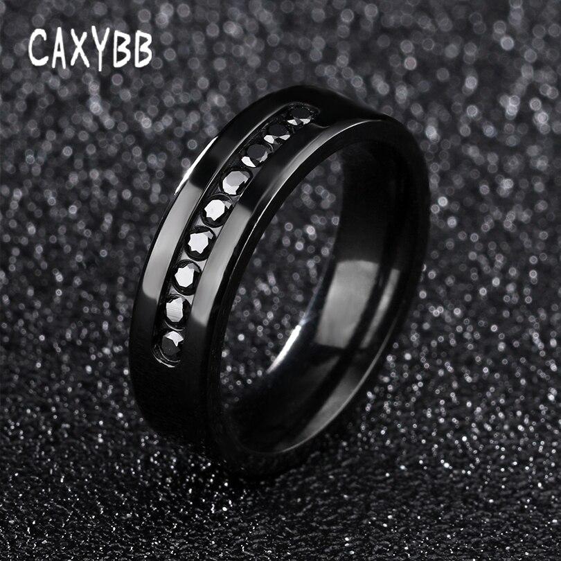 Caxybb Vintage punk noir hommes bague de doigt ronde coupe cubique Zircon bagues de fiançailles noir pistolet plaqué mode créé CZ diamants