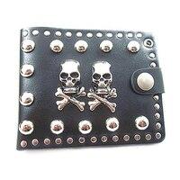Fashion Rock Punk Brieftasche Großer Pilz Niet Doppel Schädel Legierung Kurze Vintage Gothic Geldbörse Kartenhalter Brieftaschen