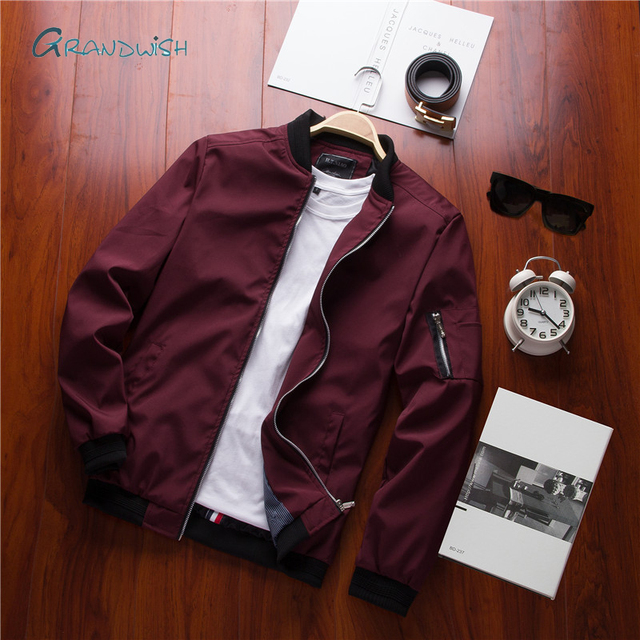 Grandwish New Mens Casual Bomber Jacket Men Streetwear Hip Hop Slim Fit Pilot Bomber Jacket Male Cotton Coat Plus Size 4XL,DA931
