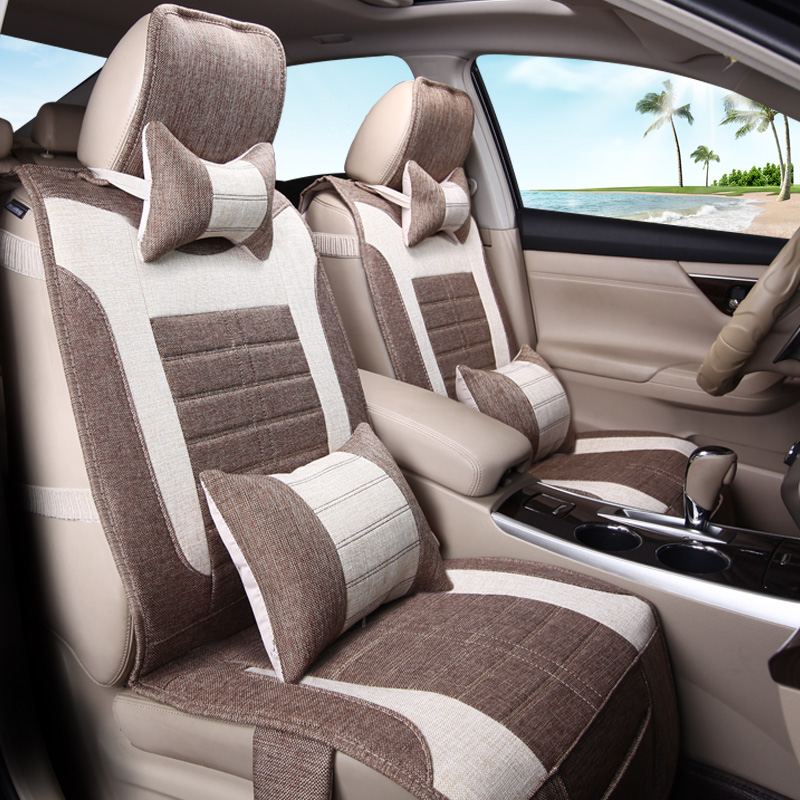 3D Styling Flax Cushion Healthy Car Seat Cover For Cadillac ATS CTS XTS SRX SLS Escalade Linen material