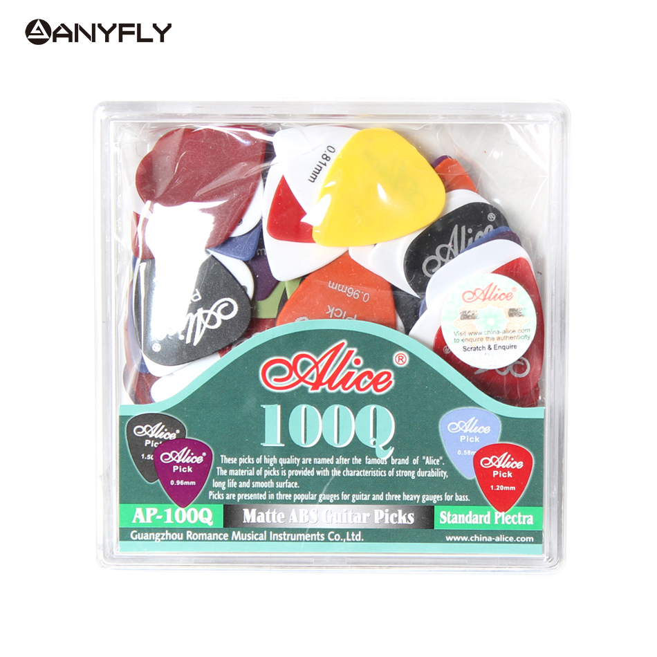 Free Shipping Alice AP-100Q 100pcs Acoustic Electric Guitar Picks Matte ABS Antiskid  Plectrum Thickness For Choose Wholesales free shipping professional alice ap 12a 12pcs lot pearl celluloid guitar picks plectrums clamshell wholesales