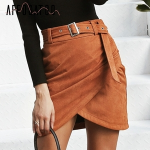 Image 2 - Affogatoo גבוהה מותניים זמש עור חצאיות 2018 סתיו חורף חגורת ruched bodycon חצאית נשים אסימטרית קצר חצאיות נקבה