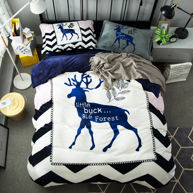 Luxury Super Soft Flannel Bedding Sets Buck Forest Coral Fleece Couple Quilt Cover Pillowcase Bed Sheet King Queen Bedding Set