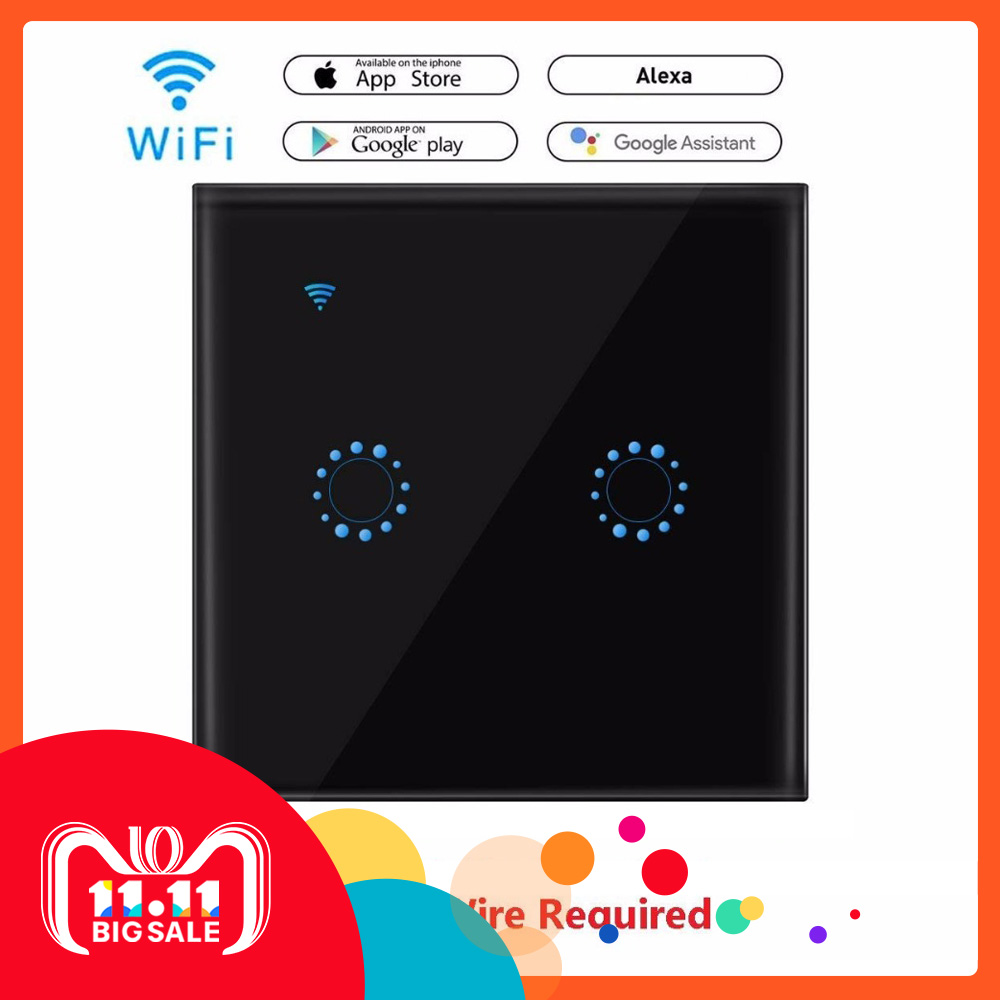 Hyleton Smart home WiFi Touch Switch Wireless Wall Touch& Phone APP control EU/UK type 1 2 3 gang for Android iOS Glass Panel sonoff t1 us smart touch wall switch 1 2 3 gang wifi 315 rf app remote smart home works with amazon free ios and app ewelink