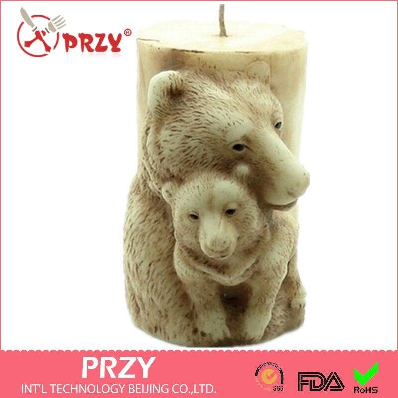 PRZY торт для свадьбы 3D Медвежонок в форме матери ручной работы мыло Плесень кремния животное свеча плесень шоколад