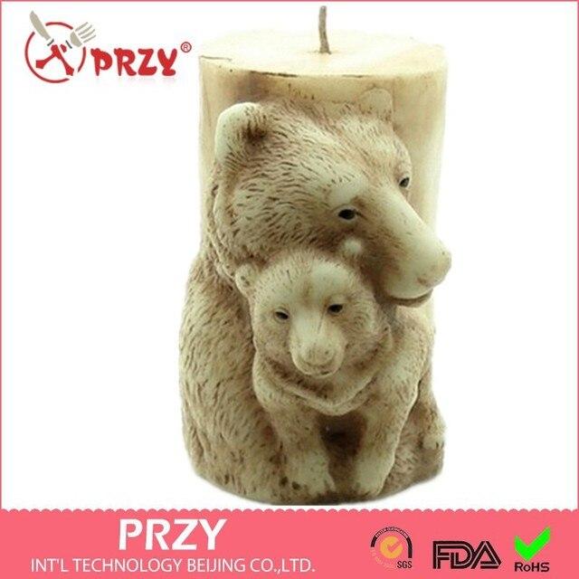 PRZY เค้กสำหรับงานแต่งงาน 3D แม่หมีรูปสบู่ Handmade แม่พิมพ์ซิลิโคนเทียนสัตว์แม่พิมพ์ช็อกโกแลต