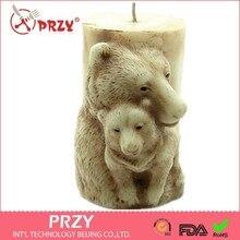 PRZY كعكة لحفل الزفاف ثلاثية الأبعاد الدب الأم على شكل قالب صابون يدوي الصنع سيليكون قالب شمعة الحيوان الشوكولاته