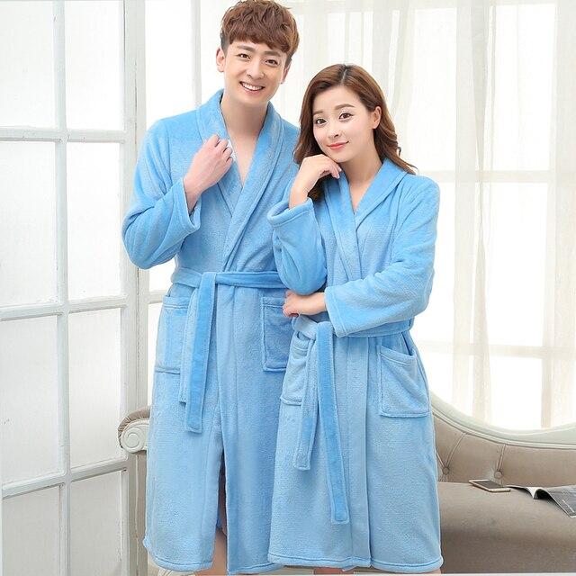 635e16a391 Womens Men Luxury Grey Kimono Bath Robe Long Silk Flannel Coral Bathrobe  Women Bridesmaid Robes Dressing Gown Peignoir Badjas