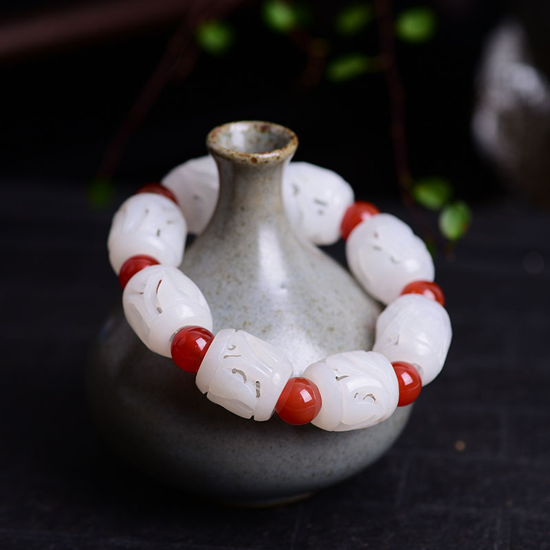 Handmade Authentic Hetian Crystal Budda Bracelets handmade authentic hetian crystal budda bracelets