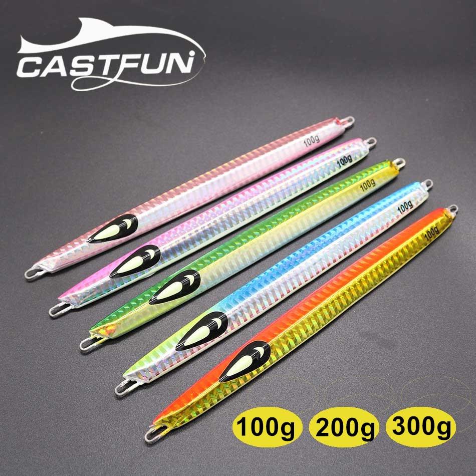 Castfun Metal Jig Vertical Jigging Lure Deep Sea Speed Jig Fishing Lure 1pc 100g 200g 300g