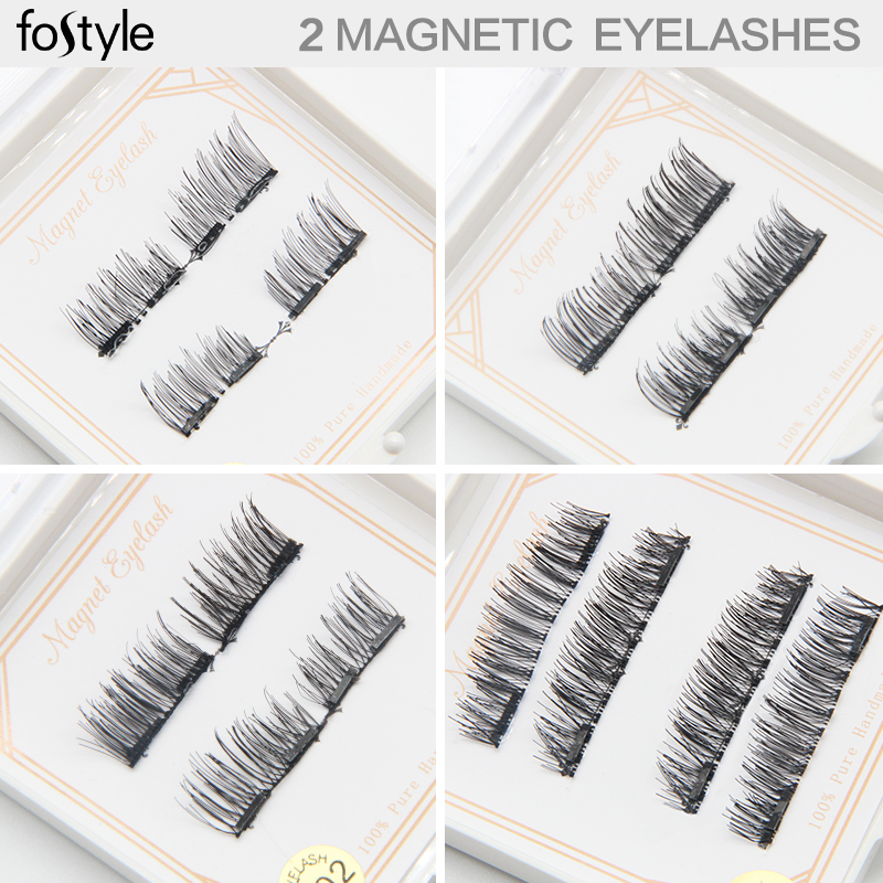 best deals Fake Eye Lash Black Cross Hair Magnet False Eyelash Extension 3d mink strip lashes Double Magnetic Eyelashes Natural
