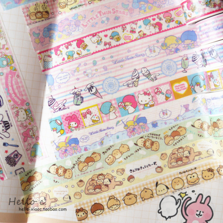 Wholesale 4pcs/lot  My Melody Cinnamoroll Dog Sticker Colored Masking Tapes Decorative  Scrapbooking ToolsWholesale 4pcs/lot  My Melody Cinnamoroll Dog Sticker Colored Masking Tapes Decorative  Scrapbooking Tools