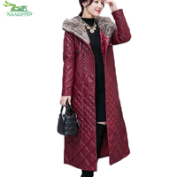 S 5XL Long Winter Leather Jacket Plus Size Women Leather Coat Fashion Thick Coat Padded Cotton Slim Fur Collar Overcoat QW508