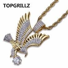 TOPGRILLZ Hip Hop Color oro cobre plateado helado Micro pavimentado CZ águila colgante collar hombres joyería del encanto tres estilo cadenas