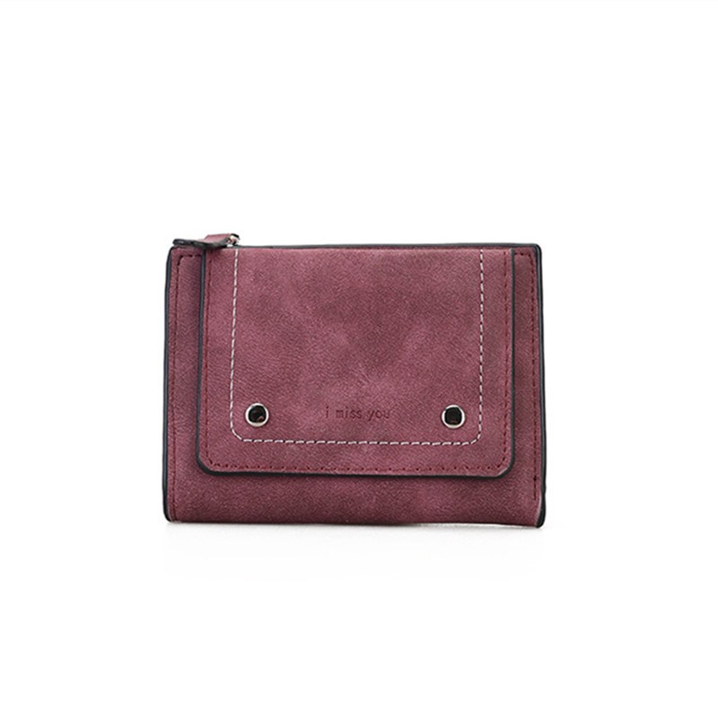 Vintage Short Women Wallet Retro Nubuck PU Leather Fold Zipper Female Purse Coin Cash Card Holder Small Clutch Lady Money Bags