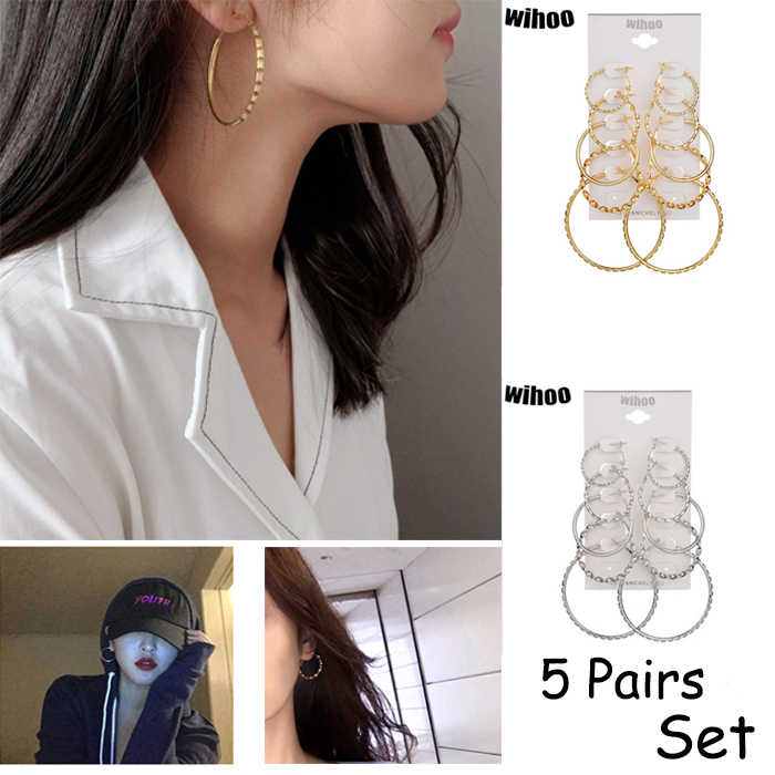 5 Pairs Set Hoop Earrings Spiral Big Circle Woman Fashion Jewelry Girl Card Exaggerated Gift Party Summer Gold Silver Bezel