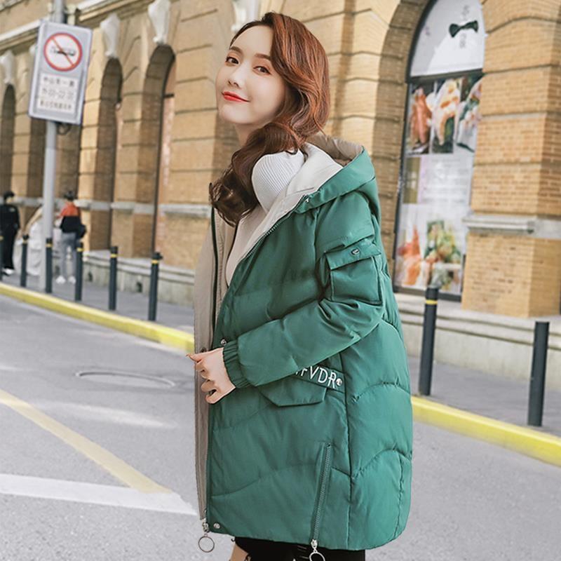 Fashion Cotton Clothing Women's Jackets Thick Korean Large Size Loose long Hooded   Parkas   Coat 2019 Winter Coat Girls Tops XA43