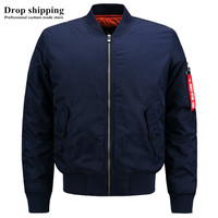 Drop shipping US Size Fashion Casual Zip up Blue Jackets Men's Bomber Jackets Winter Thick Warm Men's Coats Accept Custom Jacket
