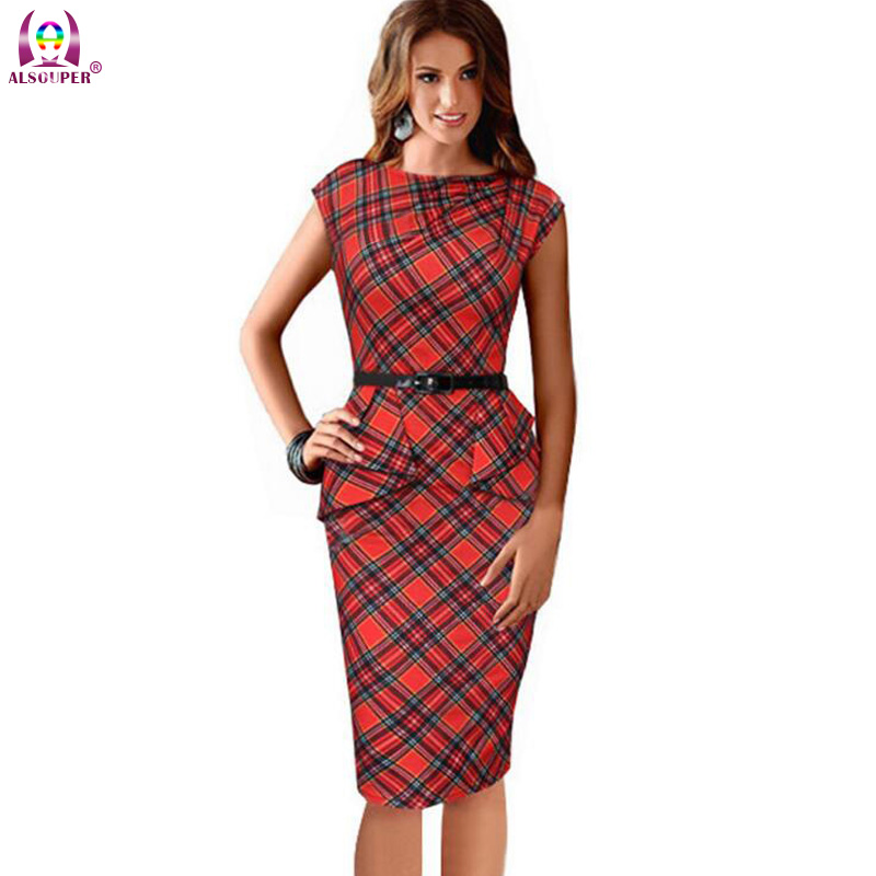 2016 New Women Vintage Elegant Dress Belted font b Tartan b font Peplum Ruched Party Sleeve