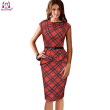 2016 New Women Vintage Elegant Dress Belted Tartan Peplum Ruched Party Sleeve Bodycon Sheath Womens Dress With Gift Belt QZ0022